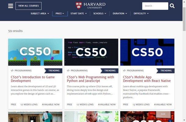 300+ Cursos Gratuitos ofrecidos por Harvard