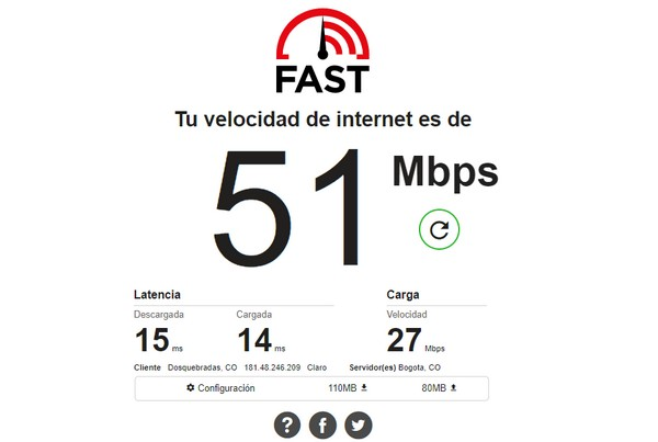 Portal para revisar su velocidad de Internet